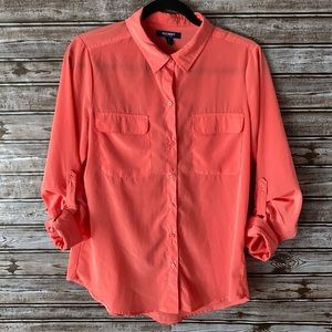 Old Navy Coral Tropics Rolled Cuff Button Up